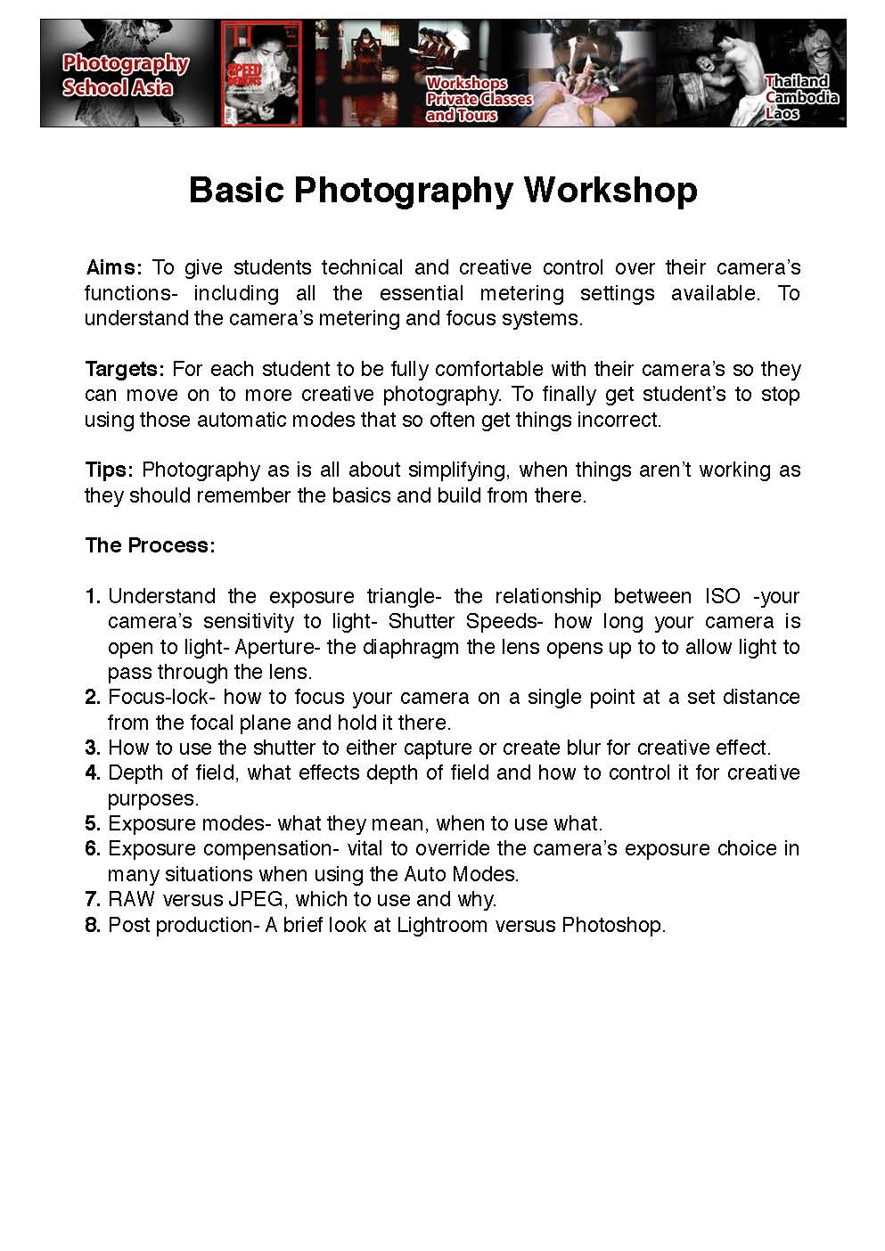 The first sheet of my workshop on essential photography basics.